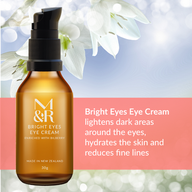 M&R Essentials Bright Eyes Eye Cream is part of our certified organic skin care range, it lightens dark areas around the eyes, hydrates the skin and reduces fine lines.