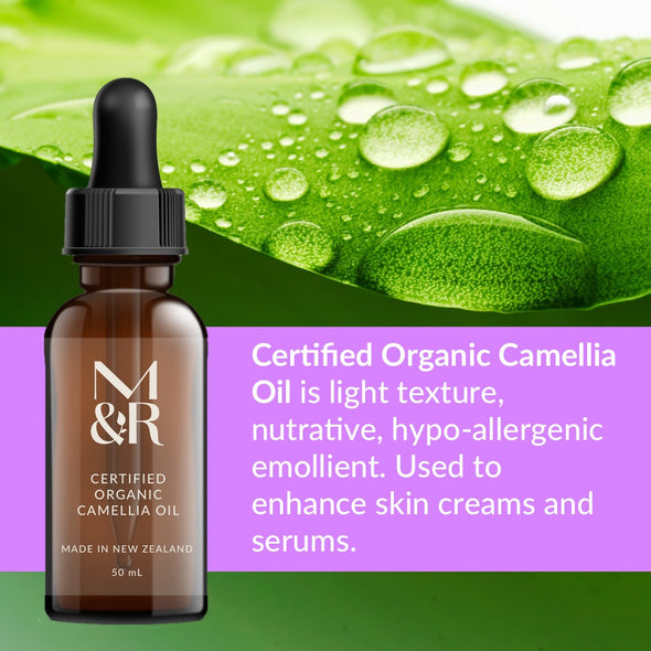 M&R Essentials Certified Organic Camellia Oil is part of our organic skin care range. It stimulates collagen, fights wrinkles by stopping the breakdown of collagen, protects the skin from damage and is rapidly absorbed.
