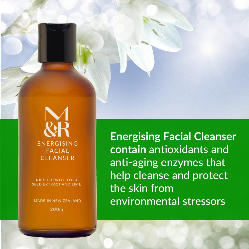 M&R Certified Organic Energising Facial Cleanser is part of our organic skin care range. It removes make-up, dead skin cells, oil, dirt, and other types of pollutants from the skin of the face. This helps to unclog pores and prevent skin conditions such as acne. It also corrects and anti-ages due to antioxidants, anti ageing enzymes and salicin.