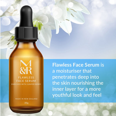 M&R Essentials Flawless Face Serum is part of our certified organic skin care range, it penetrates deep where normal moisturisers cannot, firming and toning the skin whilst fighting wrinkles, skin imperfections and reducing pore size.
