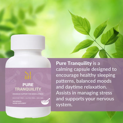 M&R Essentials Pure Tranquility is a calming capsule designed to encourage healthy sleeping patterns, balanced moods and daytime relaxation. Assists in managing stress and supports your nervous system.