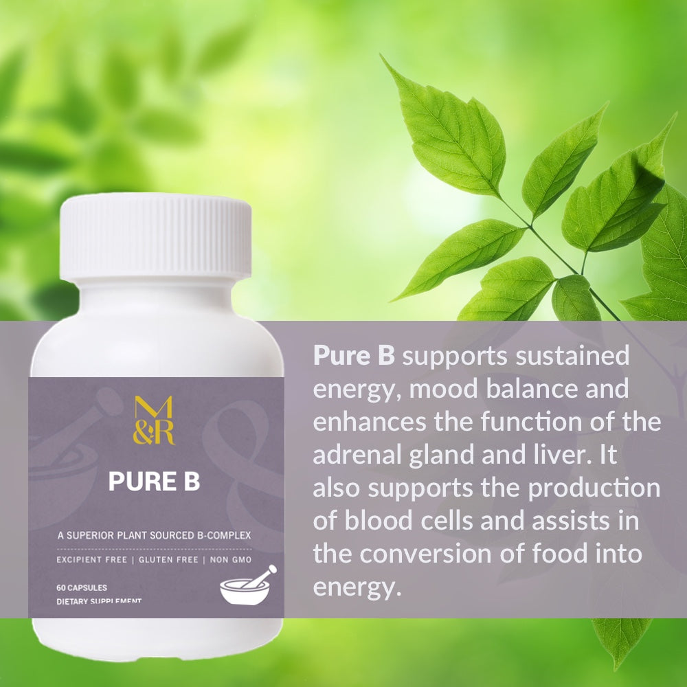 M&R Essentials Pure B supports sustained energy, mood balance and enhanced function of the adrenal gland and liver. It also supports the production of blood cells and assists in the conversion if food into energy.