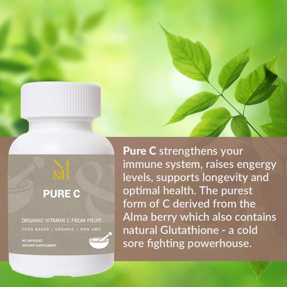 M&R Essentials Pure C strengthens your immune system, raises energy levels, supports longevity and optimal health. The purest form of C derived from the Alma berry which also contains natural Glutathione - a cold sore fighting powerhouse.