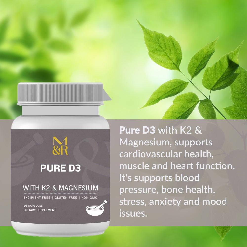 M&R Essentials Pure D3 with K2 & Magnesium, supports cardiovascular health, muscle and heart function. It supports blood pressure, bone health, stress, anxiety and mood issues.