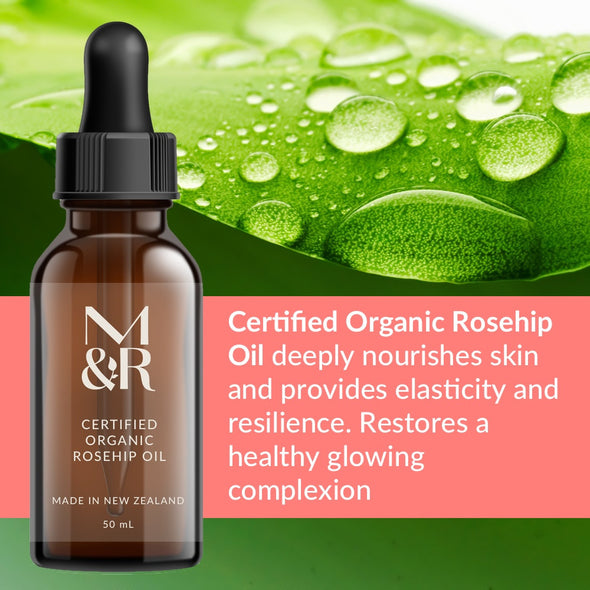 M&R Essentials Certified Organic Rosehip Oil is part of our organic skin care range. it is filled with nutrients which heal and protect your skin. A mix of Vitamins A, B, C, D, E and F Rosehip Oil acts as a powerful anti-oxidant. It's rich in essential fatty acids (EFAs).