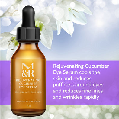 M&R Essentials Rejuvenating Cucumber Eye Serum is part of our certified organic skin care range, it cools the skin and reduces puffiness around eyes and reduces fine lines and wrinkles rapidly.