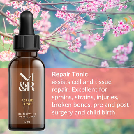 M&R Essentials Repair Tonic is a homeopathic tonic used to assist the repair of the bodies cells, tissue and bones. It is is all natural and suitable for children, pregnancy and breastfeeding. It is safe, non-toxic, doesn't interfere with other medications and does not build up in the body.