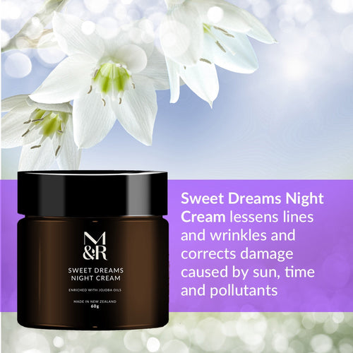 M&R Essentials Sweet Dreams Night Cream is part of our certified organic skin care range, it reduces lines and wrinkles and corrects damage caused by sun, time and pollutants. Rehydrates and replenishes whilst you sleep.