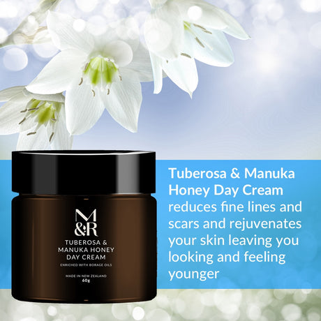M&R Essentials Tuberosa & Manuka Honey Day Cream is part of our certified organic skin care range, formulated to fight the visible signs of ageing and act as an anti-inflammatory agent. Enriched with Rosehip, Avocado, Lavender and Borage oils leaving your skin feeling soft, full of new life and smelling amazing!