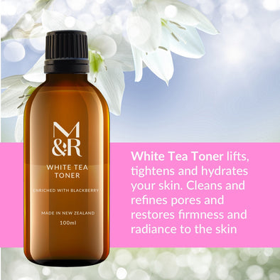 M&R Essentials White Tea Toner is part of our certified organic skin care range, it cleanses the skin, seals in moisture, reduces pore size & tightens your skin whilst fighting wrinkles, loss of elasticity & oxidative stress.