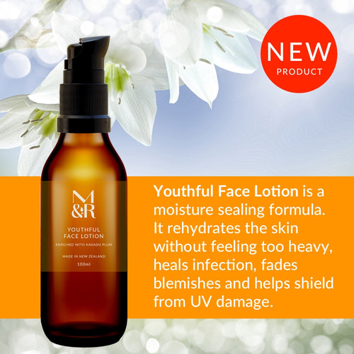 M&R Essentials Youthful Face Lotion is part of our certified organic skin care range, Reinforces the skins barrier function and shield it from damage contains antioxidants to reduce fine lines & anti-inflammatory agents for inflamed skin.