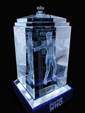 Matt Smith of Doctor Who laser-engraved in a crystal TARDIS replica on an LED-lit base