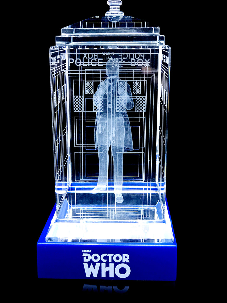 William Hartnell of Doctor Who laser-engraved in a crystal TARDIS replica on an LED-lit base