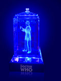 Patrick Troughton of Doctor Who laser-engraved in a crystal TARDIS replica on an LED-lit base