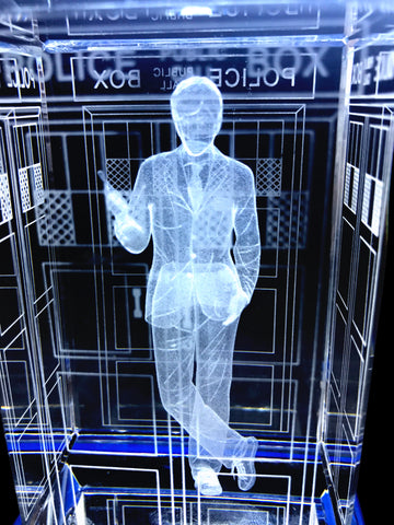 David Tennant of Doctor Who laser-engraved in a crystal TARDIS replica on an LED-lit base