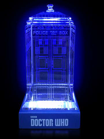 Doctor Who classic crystal TARDIS replica on an LED-lit base