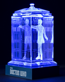 Peter Capaldi of Doctor Who laser-engraved in a crystal TARDIS replica on an LED-lit base