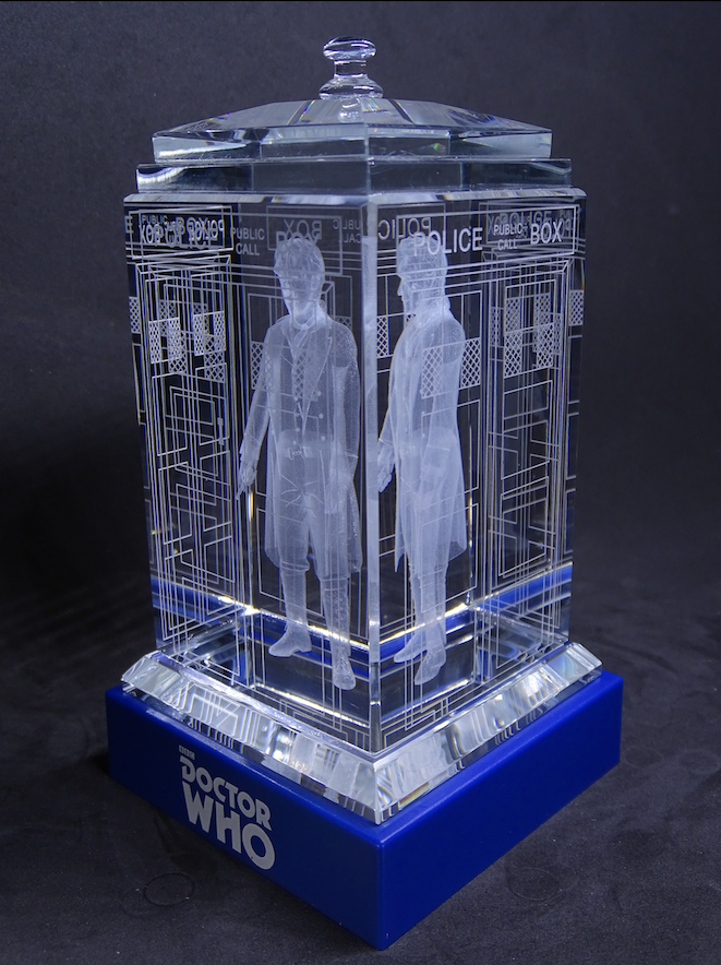 Paul McGann of Doctor Who laser-engraved in a crystal TARDIS replica on an LED-lit base