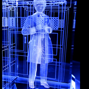 Colin Baker of Doctor Who laser-engraved in a crystal TARDIS replica on an LED-lit base