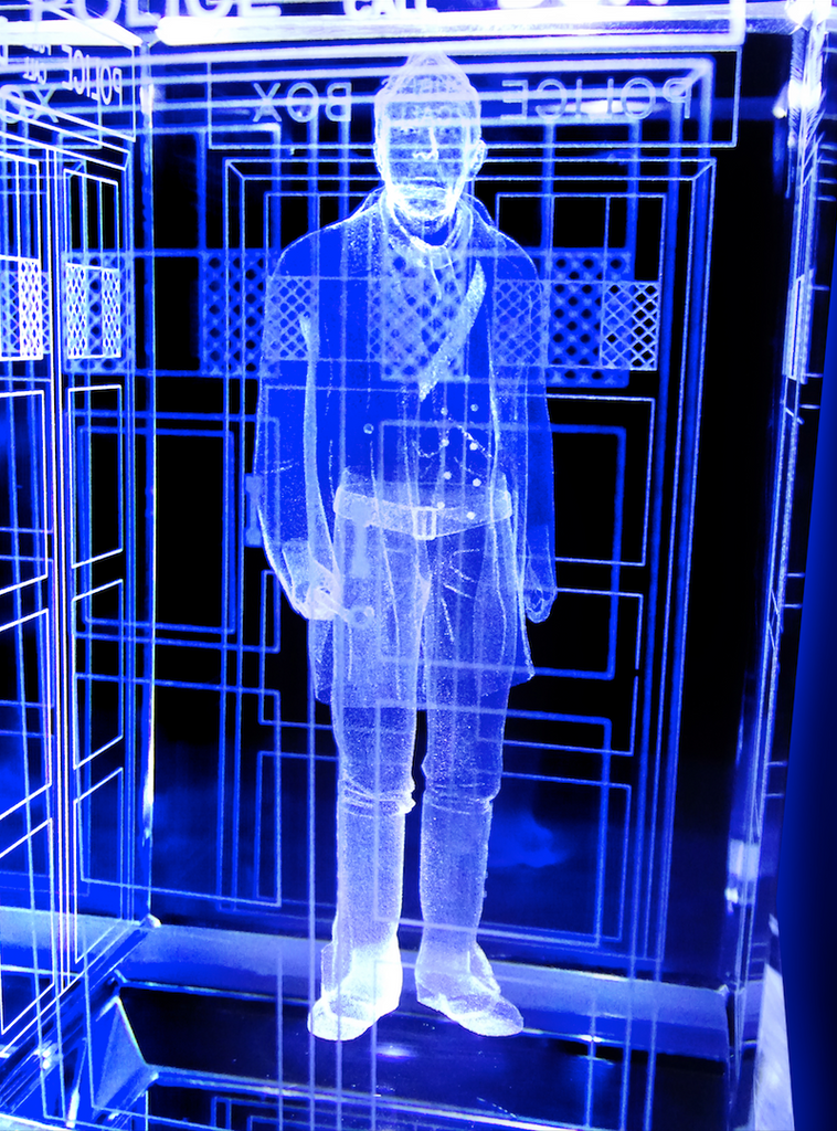 John Hurt of Doctor Who laser-engraved in a crystal TARDIS replica on an LED-lit base