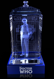 Sylvester McCoy of Doctor Who laser-engraved in a crystal TARDIS replica on an LED-lit base
