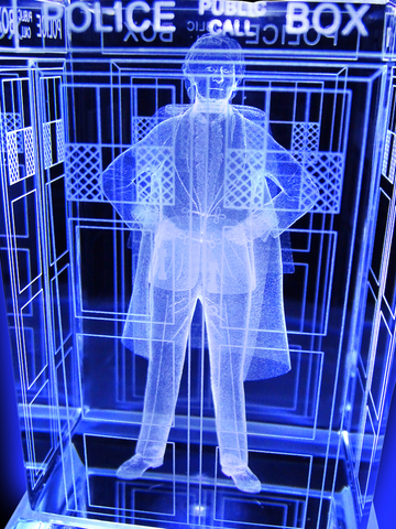 Jon Pertwee of Doctor Who laser-engraved in a crystal TARDIS replica on an LED-lit base