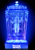 Tom Baker of Doctor Who laser-engraved in a crystal TARDIS replica on an LED-lit base