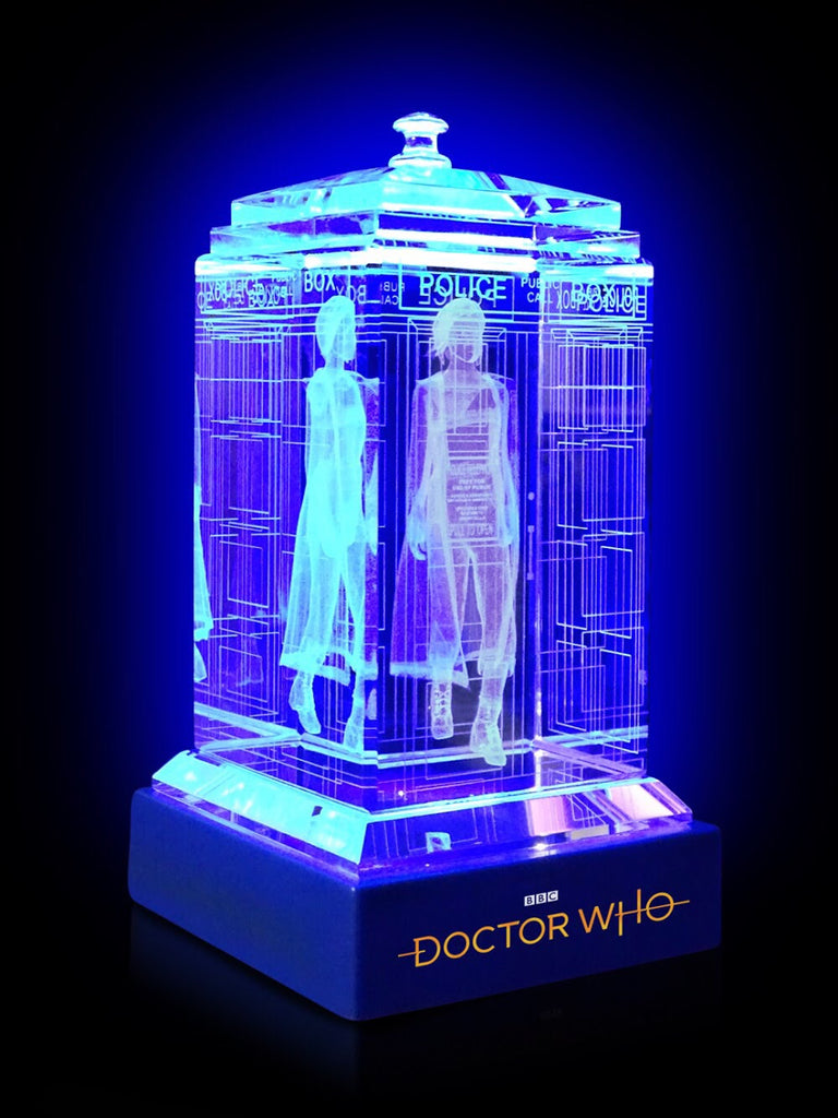 Jodie Whittaker of Doctor Who laser-engraved in a crystal TARDIS replica on an LED-lit base