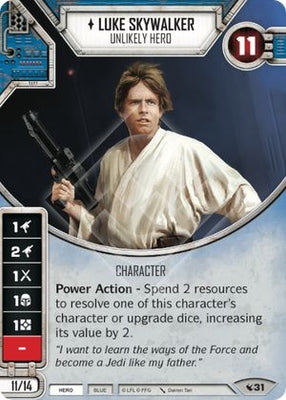 Luke Skywalker - Unlikely Hero (1 card, 2 dice)