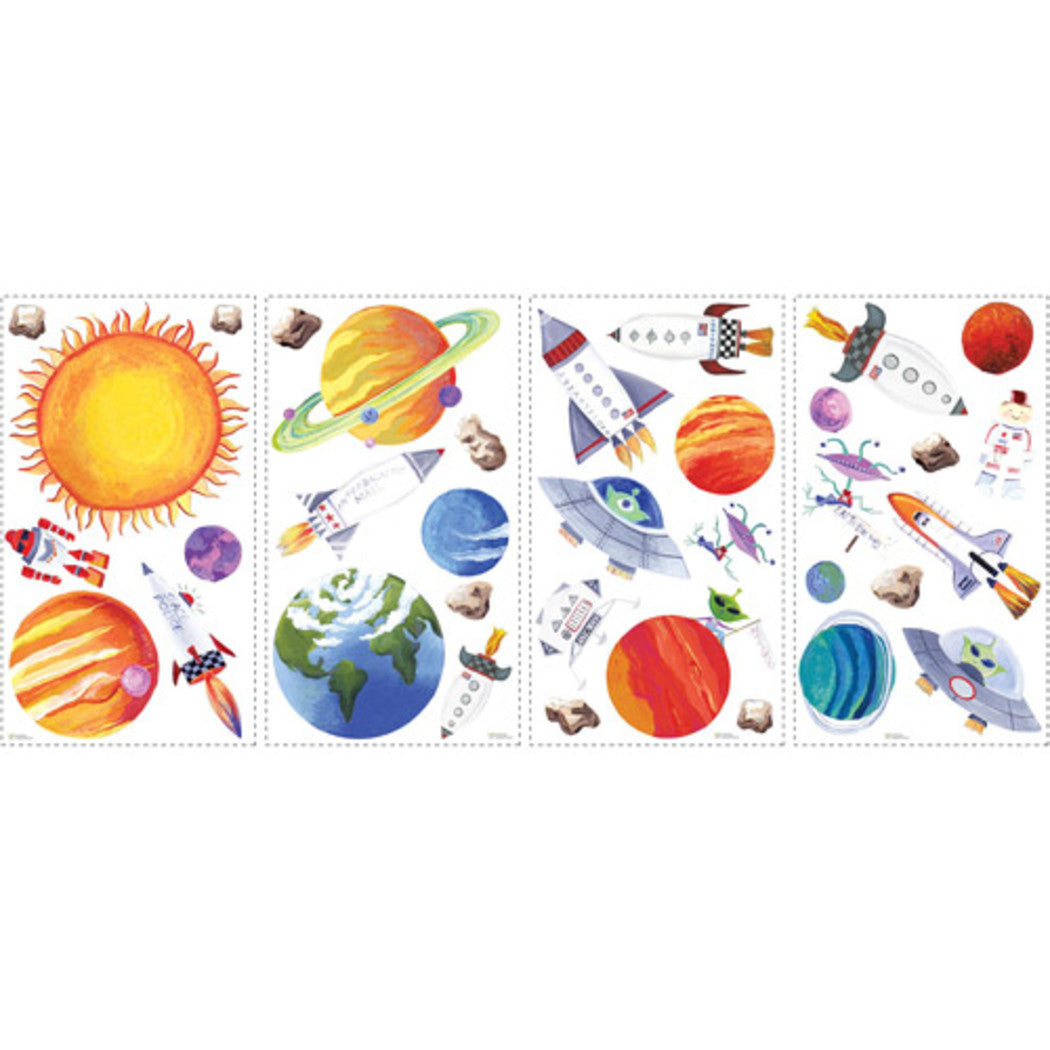 Kids Blue White Orange Outer Space Wall Decals Space Themed Wall Stickers Peel Stick Fun Planets Solar System Rockets UFO Astronauts Earth Decorative Graphic Mural Art Vinyl - Diamond Home USA