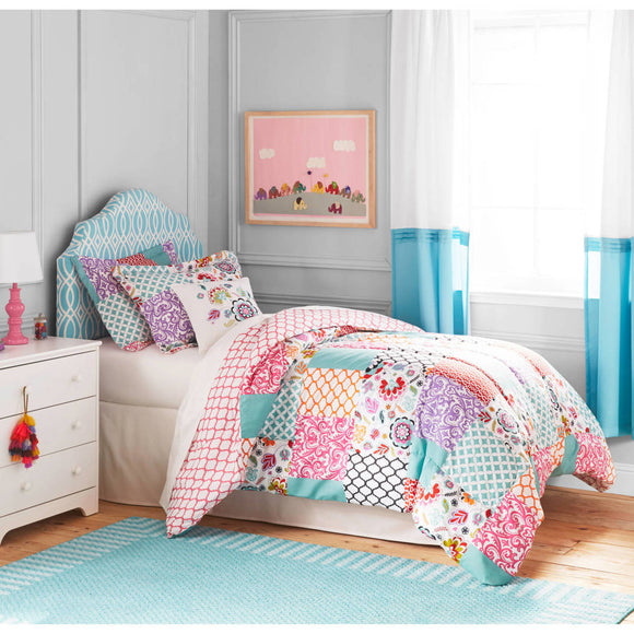 Girls Boho Patchwork Comforter Set Damask Trellis Design Shabby Chic Moroccan Pattern Kids Bedding Bedroom Floral