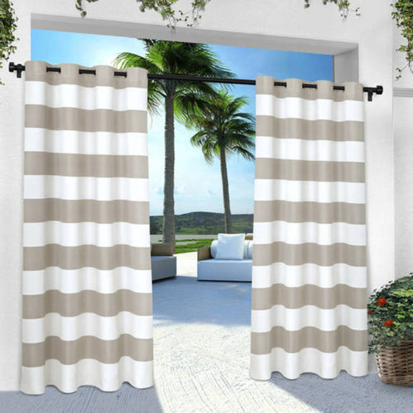 Outdoor Cloud Stripe Gazebo Curtain Striped Pattern Outside Window Treatment Panel Indoor Patio Porch Entrance Door Grommet Pergola