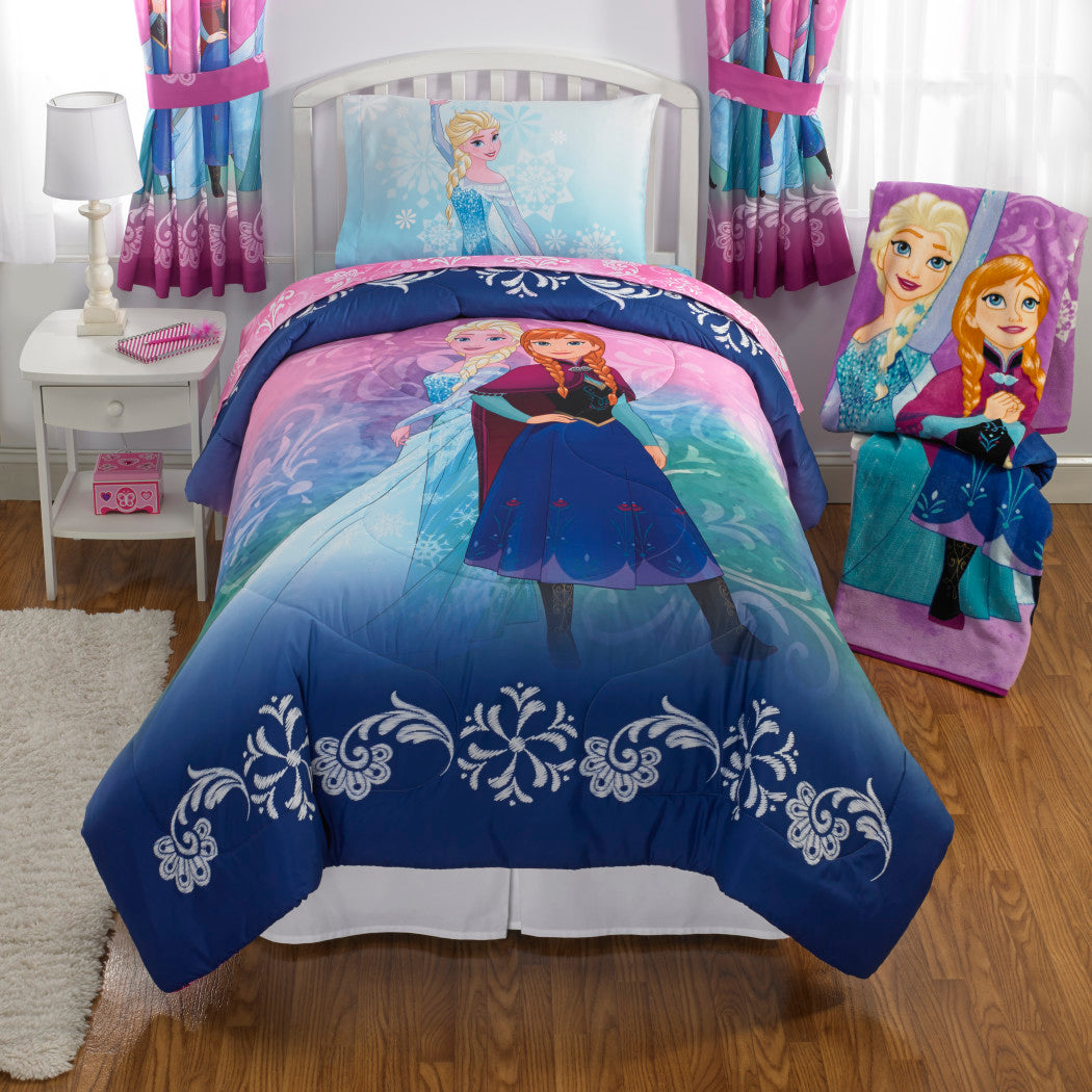 Kids Girls Purple Pink Teal Blue Elsa Comforter Twin Set Disney Princess Frozen Bedding Anna Florals Scrolls Snowflake Pattern White White Polyester - Diamond Home USA
