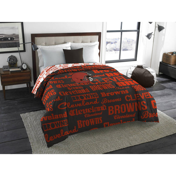 NFL Cleveland Browns Comforter Full Sports Patterned Bedding Team Logo Fan Merchandise Team Spirit Football Themed National Football League Brown