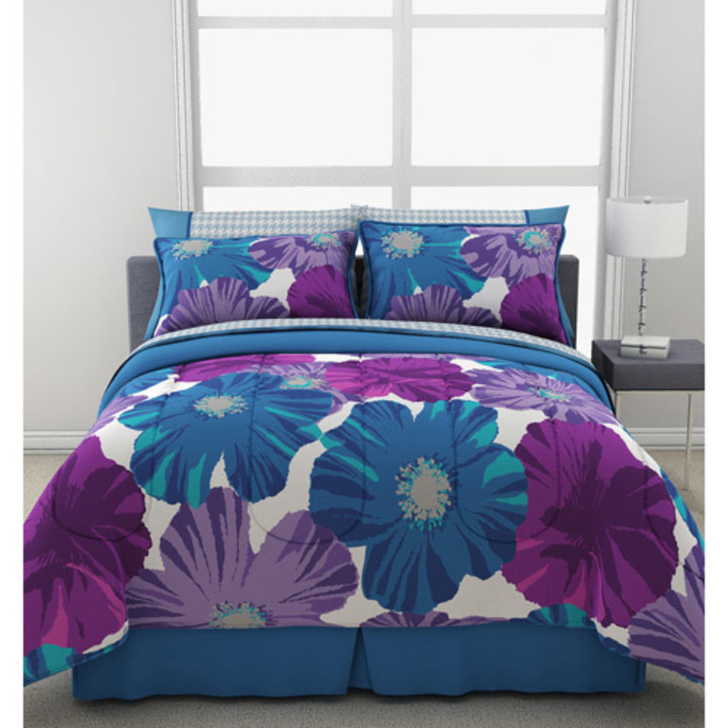 Girls Gia Flowers Theme Comforter Set High Class Luxury Floral Bedding Elgance Girly Char Boho Hippy Pattern Pretty Solid