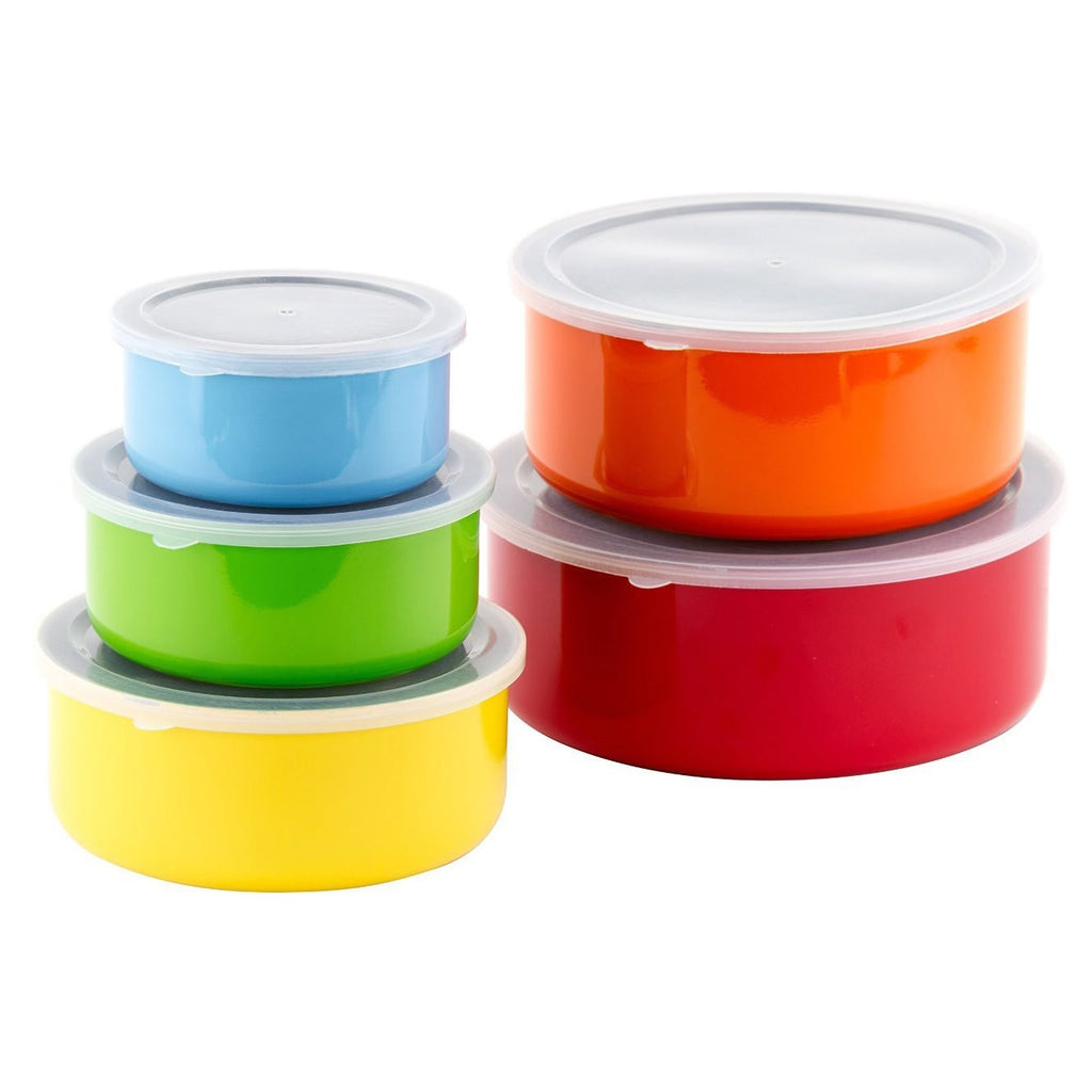 Colored Stainless Steel Mixing Bowls Food Storage Containers Set - Lid Multi Color Solid Metal Plastic - Diamond Home USA