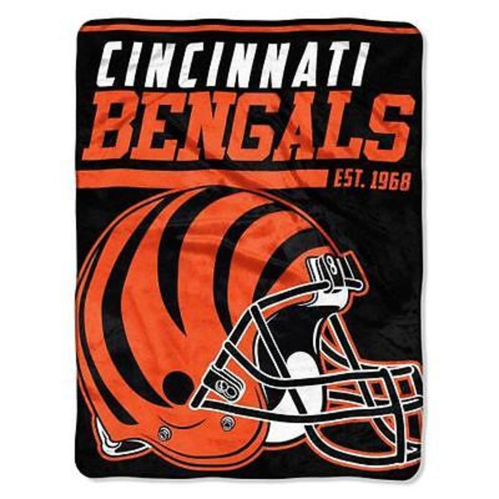 NFL Bengals Throw Blanket 46 X 60 Inches Football Themed Bedding Sports Patterned Team Logo Fan Merchandise Athletic Team Spirit Fan Orange Black