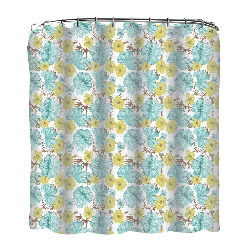 Aqua Blue Yellow Graphical Nature Themed Shower Curtain Vinyl Lightweight Detailed Flower Leaf Printed Abstract Floral Pattern Classic Elegant Design - Diamond Home USA