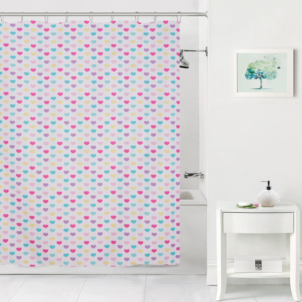 70x72 Kids Cute Purple Pink Hearts Shower Curtain Love Themed Bathtub Decor Teal Blue Yellow White