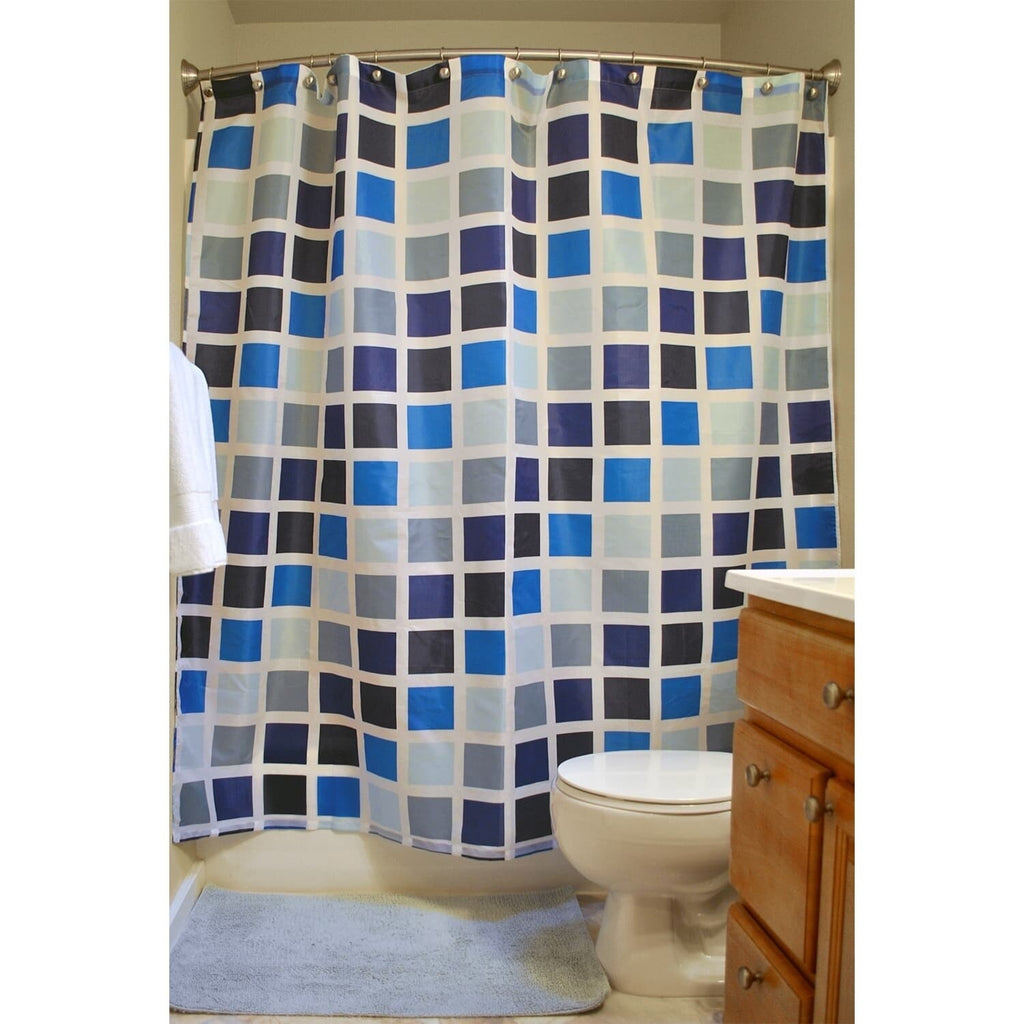 16 Piece Shower Curtain and Bath Accessory Set Grey Abstract Geometric Graphic Print Victorian Polyester - Diamond Home USA