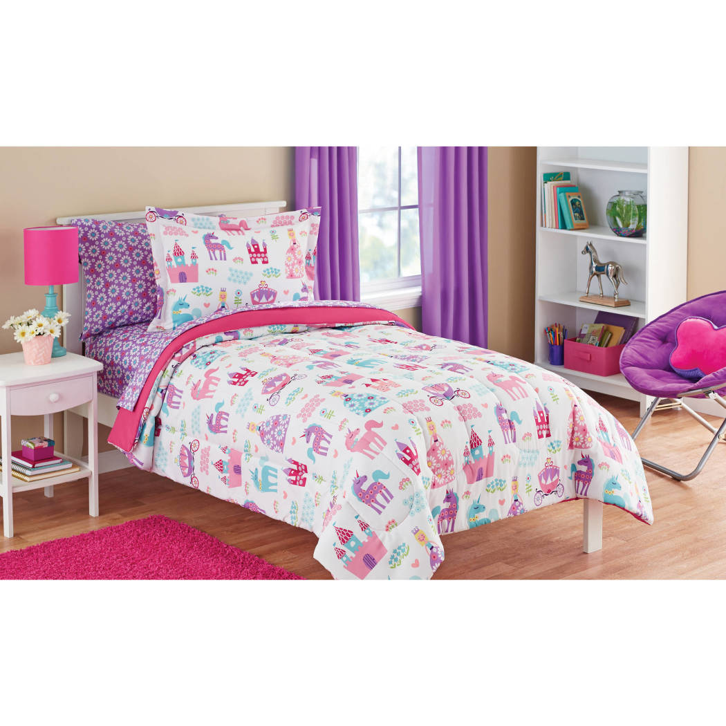 Girls Princess Unicorn Comforter Set Bedding Allover Flowers Floral Pattern Vibrant Castles Carriages Hearts