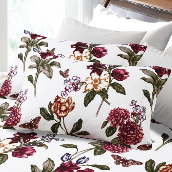 Blossom Flowers Pattern Hemstitched Sheet Set Elegant Bohemian Floral Butterflies Bedding Boho Chic Traditional Soft Durable Heavy