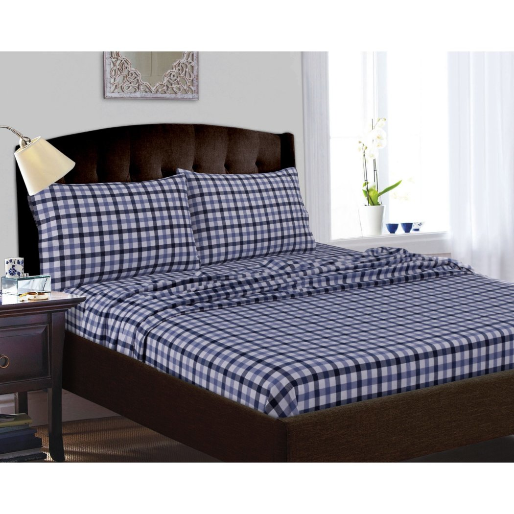 Plaid Pattern Oversize Sheet Set Classic Tartan Checkered Design Features Extra Pockety Elasticized Fitted Hemstitch Soft