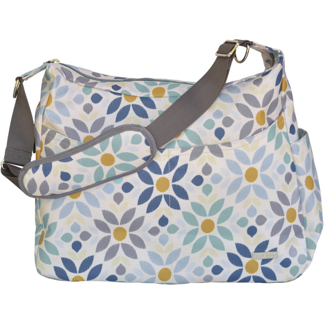White Blue Large Floral Diaper Bag Babies Baby Nursery Tote Backpack Geometric Flower FlowersPattern Design Roomy Changing Pad Zippered Storage Shoulder Strap Cotton - Diamond Home USA