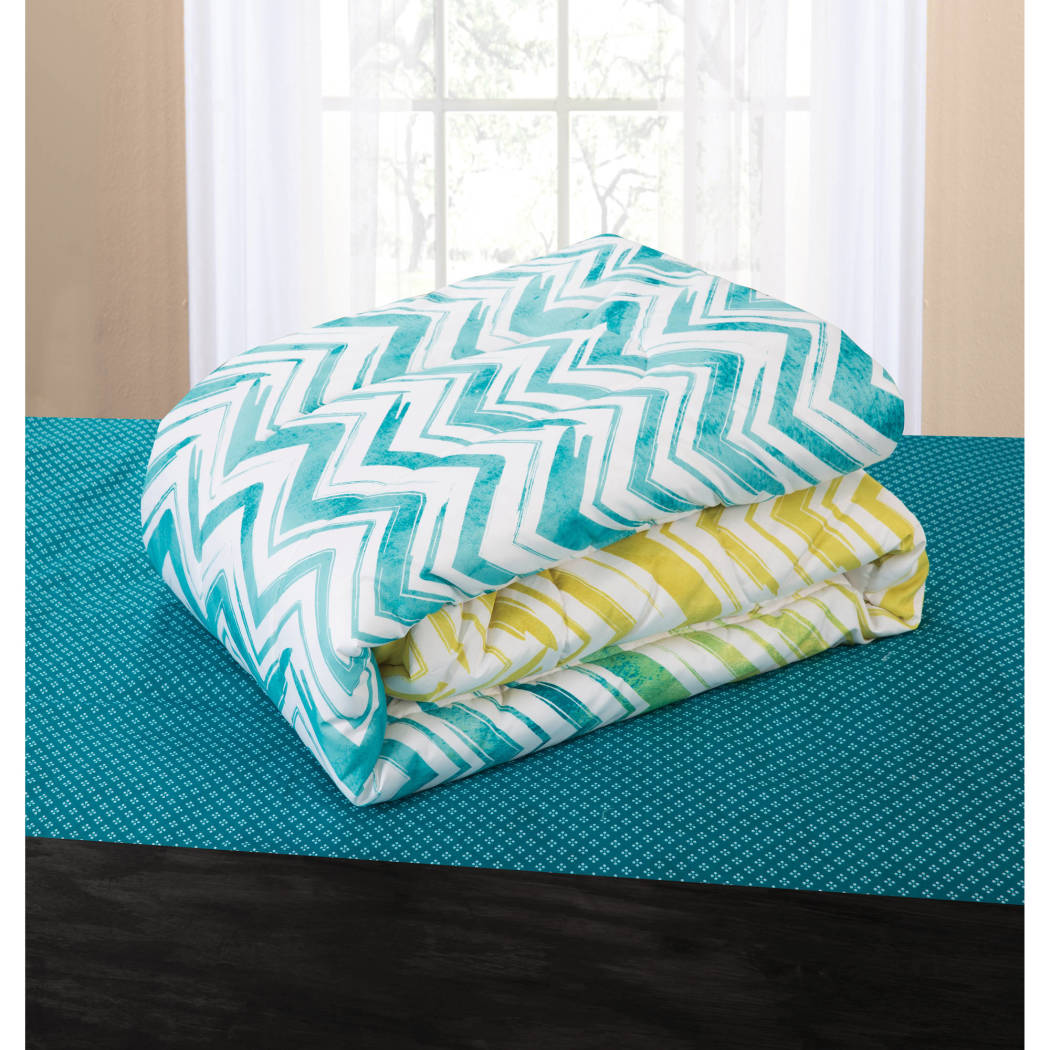 Water Ombre Chevron Pattern Comforter Bed Bag Set Elega Luxury Geometric Zigzag Stripes Bedding Bright