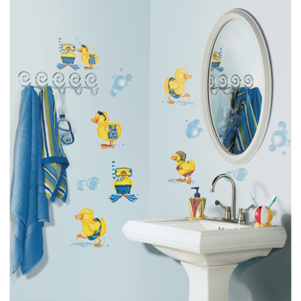 Kids Yellow Blue White Bath Duck Wall Decals Set Animal Themed Wall Stickers Peel Stick Fun Bubbles Bathroom Bathing Swimming Snorkel Cute Adorable Decorative Graphic Mural Art Vinyl - Diamond Home USA