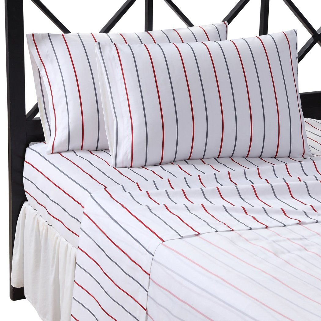 Boys Rugby Stripes Comforter Set Stripes Bedding Pattern Horizontal Striped Rugby Bed In A Bag Sheet Set