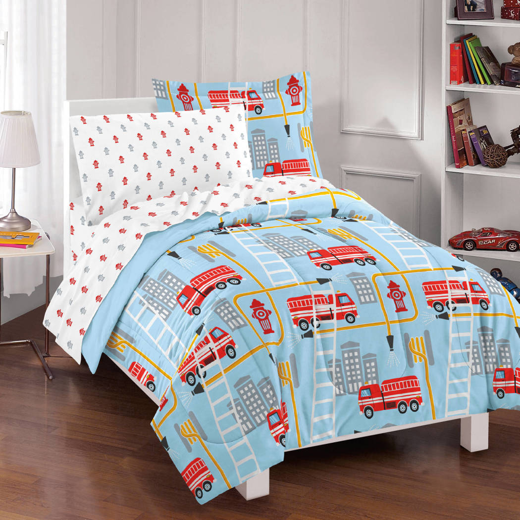 Kids Firetrucks Comforter Set Fire Truck Bedding Rescue Themed Fire Hydrant Vehicles Ladders Firemen Fan Pattern Fire Hoses