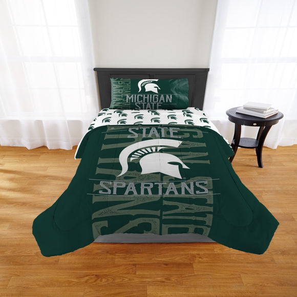 NCAA Michigan State University Spartans Comforter Twim/Full Sports Patterned Bedding Team Logo Fan Merchandise Team Spirit College Basket Ball Themed