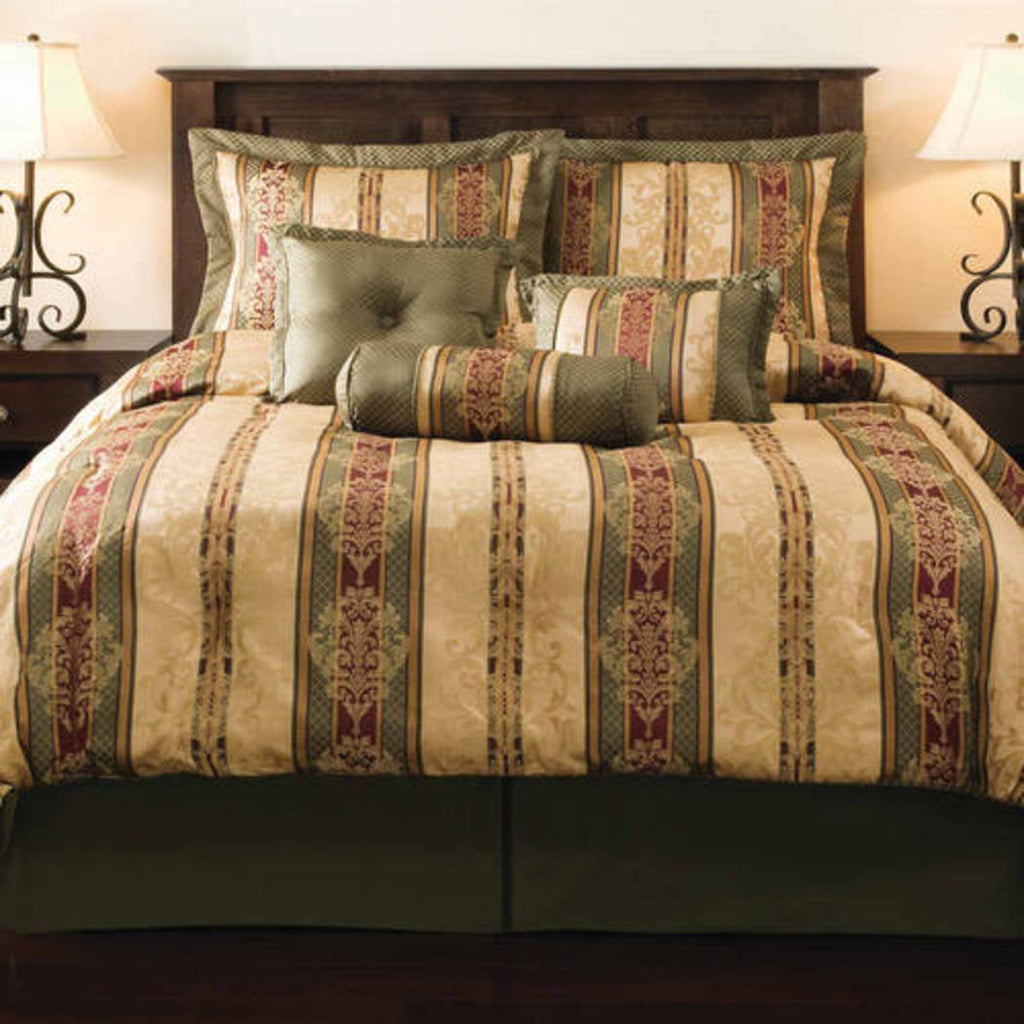 Dakota Jacquard Bedding Comforter Set Green/